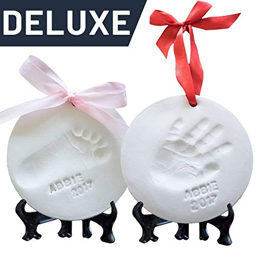 Baby Ornament Keepsake Kit (NEWBORN BUNDLE) 2 EASELS, 4 RIBBONS & LETTERS! Baby Handprint Kit and Footprint Kit, Clay Casting Kit for Baby Shower Gifts, Boys & Girls