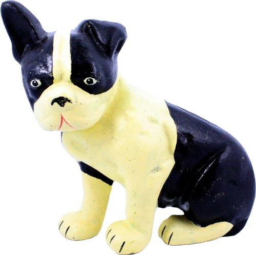 HomArt Cast Iron Lonnie The Boston Terrier Doorstop, Natural