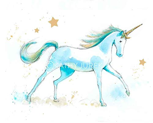 (Teal Blue Unicorn Print   Girls Room Decor   Baby Nursery Wall Art   Watercolor 8.5x11 Inch)