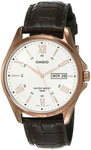 Casio MTP1384L-7AV Men s Rose Tone Leather Band Day Date Roman Silver Dial Watch