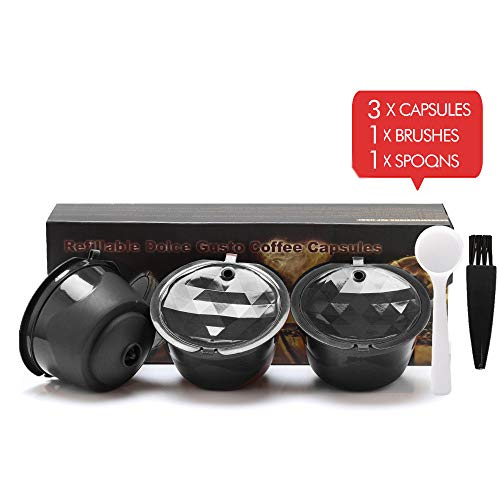 (BRBHOM Refillable Dolce Gusto Coffee Capsules Reusable Dolce Gusto Coffee Filter for Compatible for Nescafe Dolce Gusto,with Coffee Spoon,Brush)