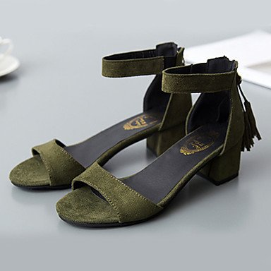 Verde Pu Womens Sandalias Bloque Otoño Casual FSCHOOLY Zapatos Primavera Green Negro De For Toe Comfort Tacón Ronda gZfSgqUw
