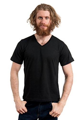 Egyptian Cotton Shirt (MTL-61001 100% Cotton V-Neck SS T-Shirt-BLK/XL)