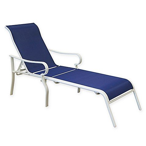 Dual-arm Design Aluminum Chaise Lounge in Blue/White (Lounge Dual Chaise)
