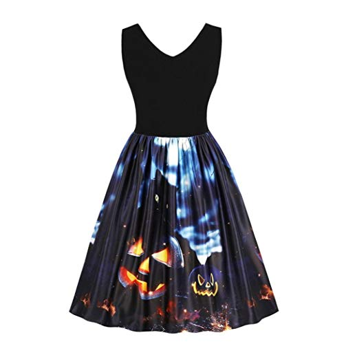 iTLOTL Lady Halloween Pumpkin Black Cat Ghost Vintage Print Dress(Black ,US-6/CN-M) ()