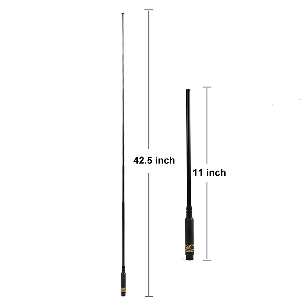 UHF+VHF 42.5-inch for Wouxun KG-UV6D KG-UV8D TYT DM-UVF10 TH-UVF9 Handheld Two Way Radio NAN AN QIXING ELECTRONIC CO LTD NA-RH660S-Male NAGOYA RH660S SMA Male Dual Band Extendable Telescopic Antenna