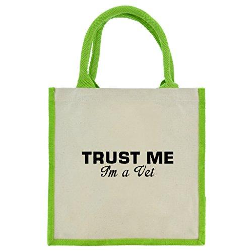 Trust Me I m A VET in schwarz print Jute Midi Einkaufstasche mit Grün Griffe und Besatz