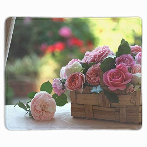 (Personalized Mouse Pad - Roses Buds Flowers Basket Beauty Design and Make Your own Customized Mousepad.)