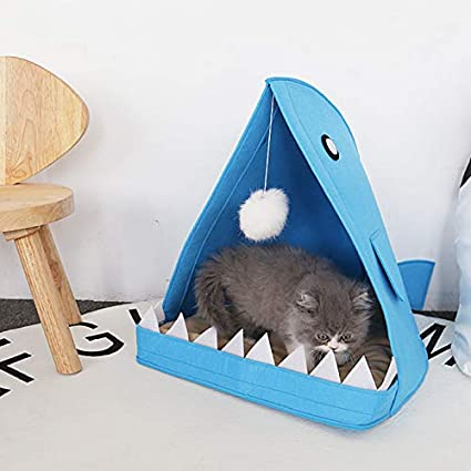 FUMAK 40x60x40cm Felt Pet House Dog Cat Nest Cute Shark Shape Dog Beds Puppy Kitten Pad