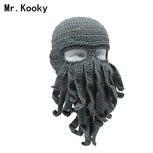 0498a73401c59 World 2 home Mr.Kooky Handmade Funny Tentacle Octopus Hat Crochet Cthulhu  Beard Beanie Men s Women s Knit Wind Mask Cap Halloween Animal Gift   Amazon.in  ...