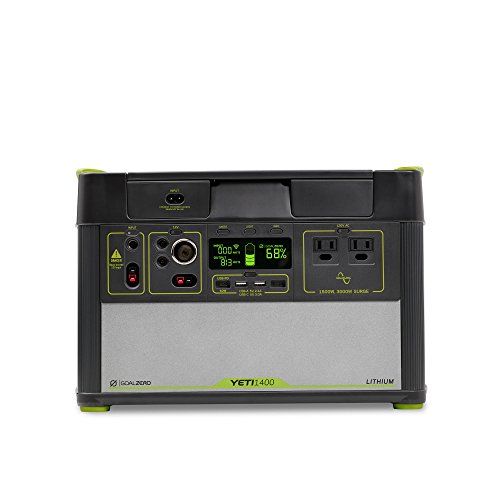 Goal Zero Yeti 1400 Lithium Portable Power Station WiFi Mobile App Enabled 1425Wh Silent Gas Free Generator Alternative with 1500 Watt (3000 Watt Surge) AC Inverter, USB, USB-C, USB-PD, 12V Outputs