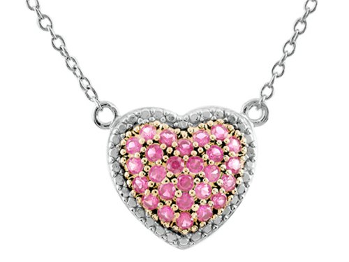 (Finejewelers Heart Shaped Created Pink Sapphire 18 Inch Necklace Sterling Silver)