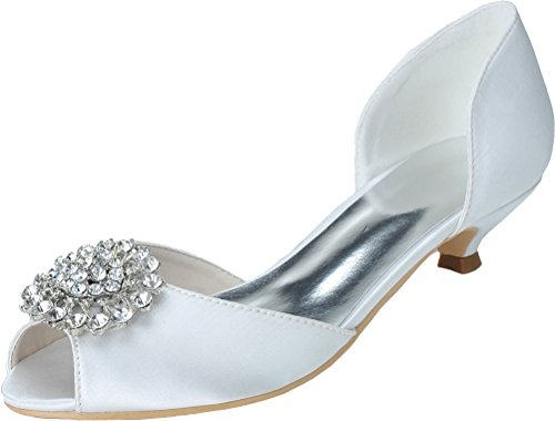 Bridesmaid Heel Ladies Kitten Sandals Party Satin 03 0700 Peep 41 Toe Fashion Work Dress Wedding Prom Comfort Eu Smart Bride White ngBxqXZ