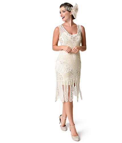 Unique Vintage 1920s Style Ivory Beaded Sinclair Flapper Dress by Unique Vintage
