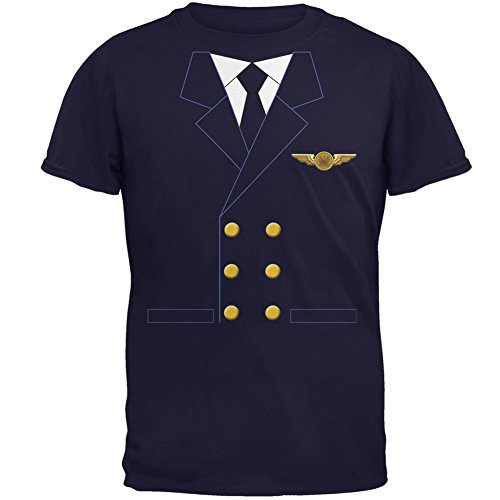 Halloween Airline Airplane Pilot Navy Adult T-Shirt - -