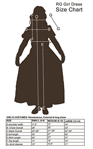 RG Costumes Colonial Peasant Girl, Child Medium/Size 8-10