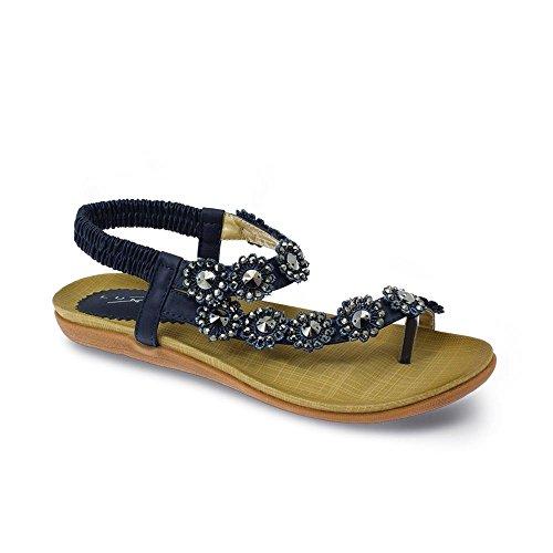Sapphire - Damen Sandalen Freizeit mit Riemen Sommerschuhe Strass Blumen bequem Marine