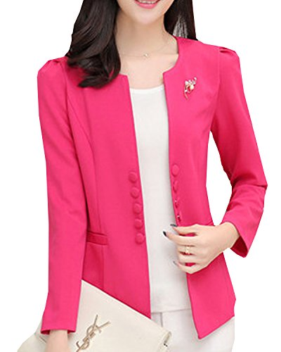 S&S Womens Plus Collarless Puff Sleeves Candy Double-breasted Suit Coat Jacket Open Blazer (Sexy Plus Size Blazers)