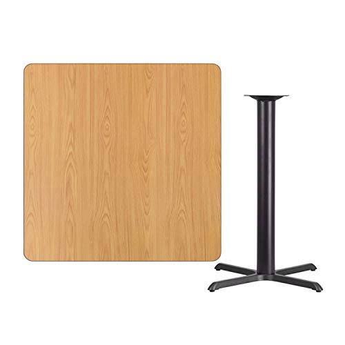 Offex 42'' Square Natural Laminate Table Top with 33'' x 33'' Bar Height Table Base