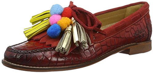 Melvin & Hamilton Women's Ruby 1 Loafers, e-Blue Multicolour (Crock Red/Killty Suede Red With Pom Pom Ls Nat.)