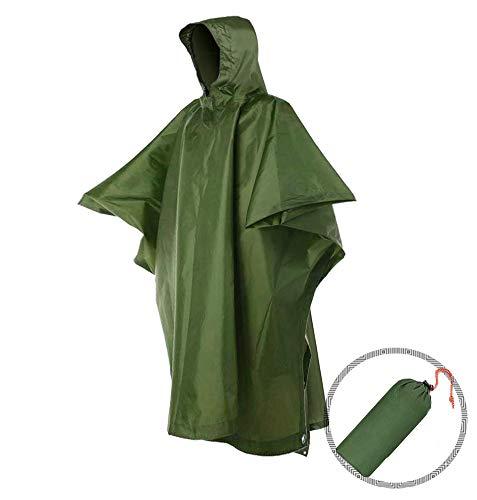 Andy Yeatese Portable Rain Poncho with Hood Waterproof Hiking Raincoat for Men and Women Outdoor - Rain Green Poncho