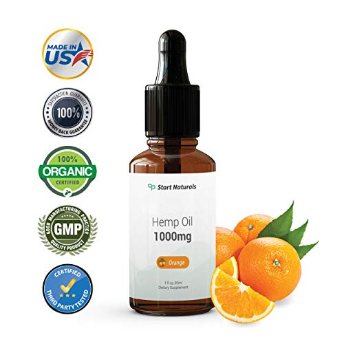 Start Naturals Hemp Oil 1000 mg | Best Hemp Oil for Pain, Stress and Anxiety Relief | 1 Fl Oz (28 ml), Orange