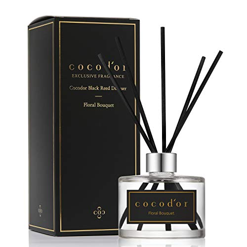 Cocod'or Black Reed Diffuser/Floral Bouquet/6.7oz/Home & Office Decor Aromatherapy Diffuser Oil Gift Set
