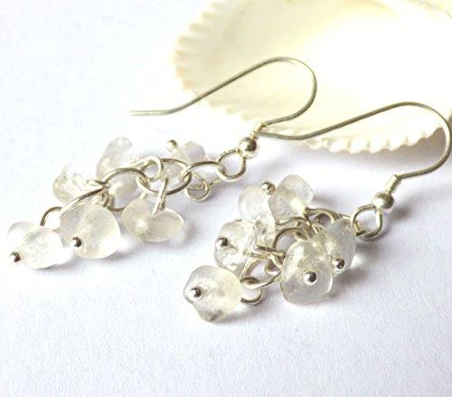 White Sea Glass & Sterling Silver Cluster Earrings E180005 ()