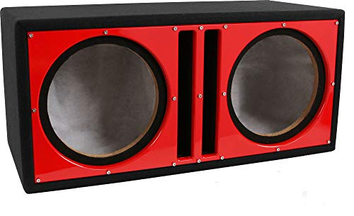 Belva Dual 12-inch Car Ported Subwoofer Box 3/4-inch MDF Prelined Polyfil Includes Custom Red Baffle [BBX212RD]