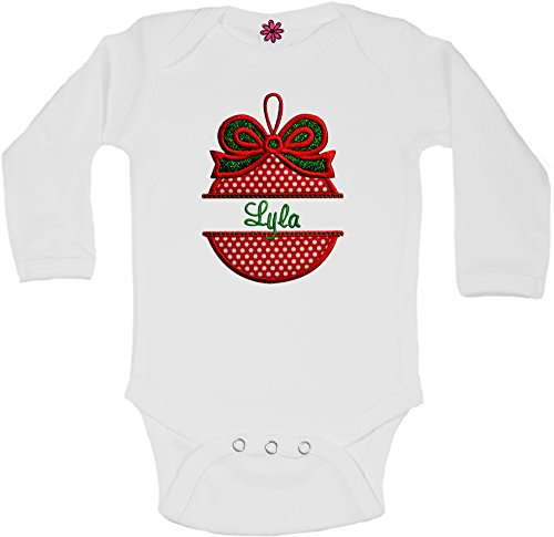 Funny Girl Designs Personalized Christmas Ornament Onesie Bodysuit Romper For Baby Girls With Embroidered Name and Glitter Bow (0-3 Months, Red & Green - Long Sleeve)