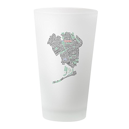 CafePress - Queens New York Map Typography - Pint Glass, 16 oz. Drinking (Elmhurst Queens)