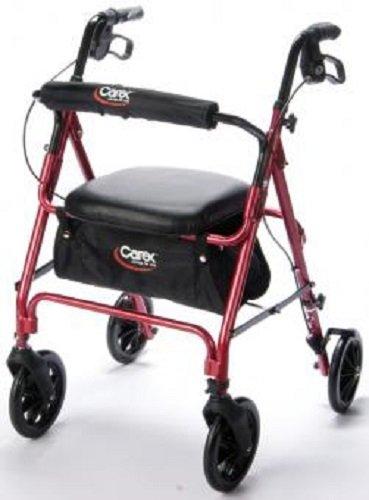 Carex 22203800 Roller Walker With Seat Burgundy Roller Wa...