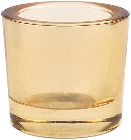 Bluecorn Beeswax Heavy Glass Votive and Tea Light Candle Holders 12
