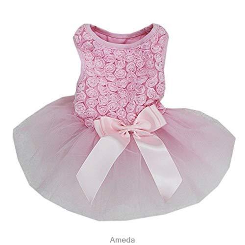 (FidgetFidget Pets Rosettes Wedding Birthday Party Flower Dogs Ballet Tulle Tutu Dress Light Pink [M] Length 32CM, Bust 38CMLight Pink[M] Length 32CM, Bust 38CM)