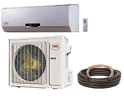 YMGI 18000 BTU 18 SEER Ductless Mini Split DC Inverter Air Conditioner Heat Pump System - 208-230V 1HP 60 Hz with Free 25 Feet Installation Kit