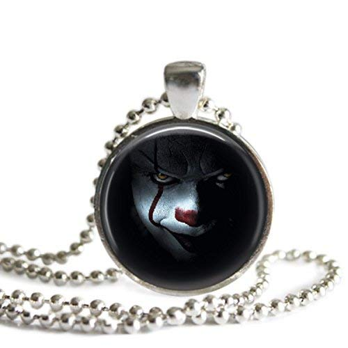 Pennywise in the Dark 1 Inch Silver Plated Pendant Necklace