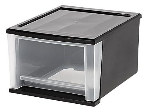 IRIS 17 Quart Stacking Drawer, Black - Modular Office Storage