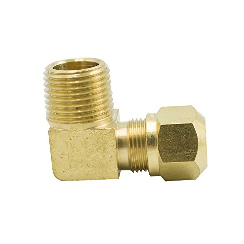 Legines Brass D.OT. Air Brake Fitting for Nylon Tubing, 90 Degree Male Elbow, 3/8