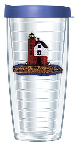 Lighthouse Round Island MI Emblem 16 Oz Traveler Tumbler Mug with (Round Island Lighthouse)