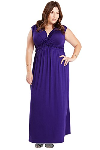 Sleeveless Front Knot Comfy Stretch Maxi Draped Plus Size Dress USA Violet 2XL (Purple Soft Dress)