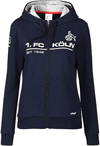 uhlsport 1 FC K/öln Damen Kapuzenjacke blau Effzeh Sportswear Fan Jacke Frauen