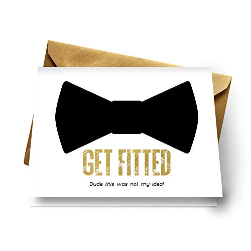 Get Fitted Ask My Groomsmen Cards (Set of 7) Fun Wedding Proposals with Gold Envelopes