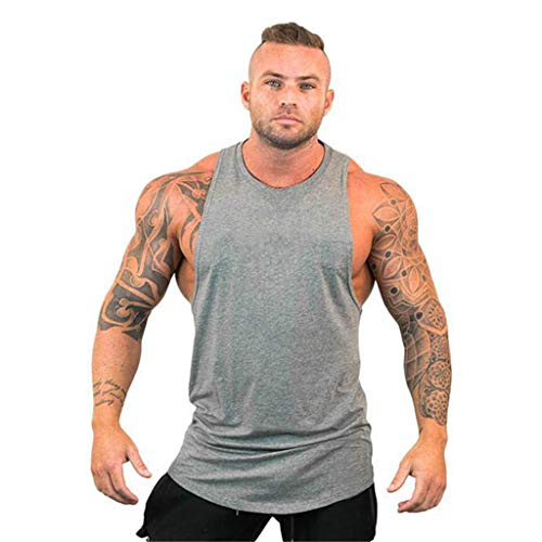 YOCheerful Men Summer Tops New Solid Sleeveless Tops Fit Sports Tops Casual Summer Tank Tops Loose Vests(Gray, L) ()