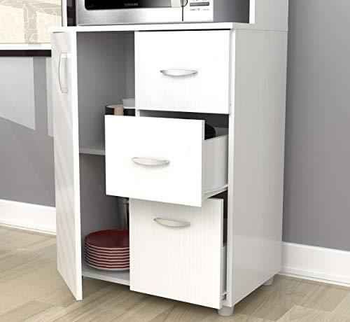 Inval America Larcinia-White Kitchen Cabinet (Metal Hutch Kitchen)