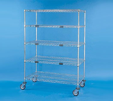 "Nexel XS52448Z Exchange and Linen Transport Truck, Standard Duty, 5 Wire Shelves, 24"" Width x 48"" Length x 69"" Height, 1200 lb Capacity, Poly-Z-Brite Finish, Clear Epoxy"