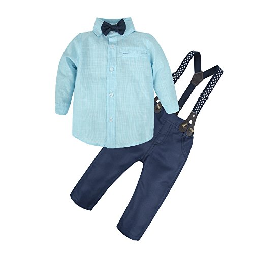 BIG ELEPHANT Baby Boys'2 Pieces Long Sleeve Shirt Suspender Pants Clothing Set with Bowtie U45-Blue-100 2-3 Years
