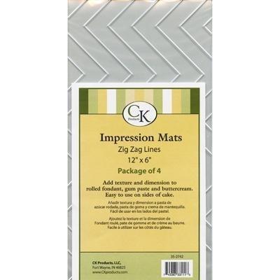 (Fondant Impression Mat -Zig Zag Lines- Pkg of 4)