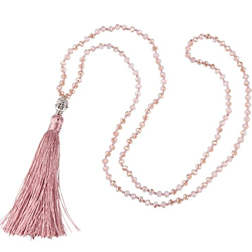 KELITCH Natural Crystal Silver Buddha Head Tassel Layering Necklace Fashion Charm Jewelry (Light Pink)