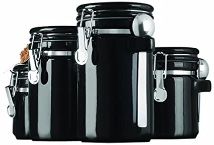 Anchor Hocking 4-Piece Black Ceramic Canister Set with Stainless Steel  Spoons (98593)