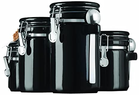 Anchor Hocking 4 Piece Black Ceramic Canister Set With Stainless Steel Spoons 98593